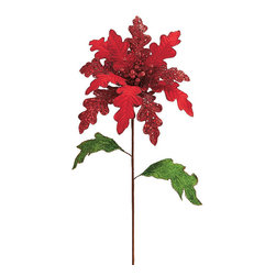 Frontgate - Set of 12 Velvet and Glitz Poinsettias - The oversized stems bring designer elegance to the holiday tree, wreath, garland, and other greenery. Pliable and reusable. Adds abundance to greenery and other decor. 12-piece set. Recommended for indoor use only. Our Velvet & Glitz Poinsettia Stems draw upon Christmas's traditional colors, enhanced by glamorous glitter. The red velvet leaves are alternately lined or coated with red glitter, as are the berries, and the green velvet leaves along the stem are lined with a gorgeous gold glitter.  .  .  .  .  .