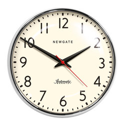 Rejuvenation: Kitchen - A classic schoolhouse-style clock in chrome. Stylishly simple and easy to read. Works well in kitchens and other areas where time is of the essence.