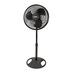 Lasko - 16 in. Oscillating Stand Fan in Black - Includes three quiet speeds, broad 90 degree oscillation sweep, patented fused safety plug and head with adjustable tilt. Three quiet speeds. Fully adjustable height. Easy grip rotary control. Ideal for all rooms. Minimal assembly requiredAdd a wonderful breeze to any room in your home with the oscillating stand fan. An excellent value, this fan produces high air output. The rotary control makes it easy to adjust to the desired speed.