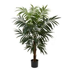 Nearly Natural - Bulb Areca Silk Tree with Stout Trunk - Includes tree pot. More than 275 leave. Thick trunk giving way to cascading fronds and green leave. Delightful tree. Add some natural beauty to any home or office. Never needing water or sunshine. Makes a great gift as well. Made from silk. Green color. Tree pot: 6.75 in. Dia. x 6 in. H. Overall: 43 in. W x 38 in. D x 54 in. H