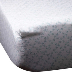 Mia + Finn - Orla Sky Fitted Sheet, Queen - As cozy and comfortable as a cookout, this fitted sheet is fabricated from 300 thread count cotton percale, for a soft feel and machine-washable convenience. Each piece is individually block-printed, resulting in subtle variations that are a hallmark of this age-old process. Pair with the matching top sheet, or mix patterns and colors for an informal country feel.