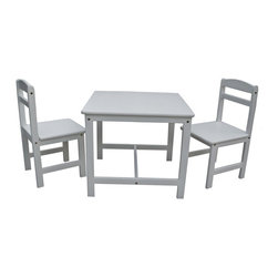 """Lamps Plus - Country - Cottage 3 Piece Set Linen White Kids Table and Chairs - Eating at the kids' table is the envy of all when the table in question belongs to this adorable dining set. Crafted with solid parawood this table and pair of chairs sport a classic design with wide appeal. The linen white finish won't clash with whatever kiddie colors are at play in the room. Some assembly required. Set of 3. Linen white finish. Solid parawood construction. Some assembly required. 22"""" high. 25"""" wide. 25"""" deep. Chair is 27 1/2"""" high 13 3/4"""" wide and 14 3/4"""" deep. Seat height is 13 3/4"""".  Set of 3.  Linen white finish.  Solid parawood construction.  Some assembly required.  22"""" high.  25"""" wide.  25"""" deep.  Chair is 27 1/2"""" high 13 3/4"""" wide and 14 3/4"""" deep.  Seat height is 13 3/4""""."""