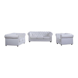 VIG Furniture - Paris-3 Three Piece Sofa Set In White Top Grain Leather With Tufted Design - The Paris sofa set has a Victorian look with a modern design that works well with any decor. This sofa set comes upholstered in a beautiful white top grain Italian leather in the front where your body touches. Skillfully chosen match material is used on the back and sides where contact is minimal. High density foam is placed within the sofa set for added comfort. The seating areas feature a stylish tufted design that add to the overall look of the set. The sofa set includes a sofa, loveseat, and chair only.