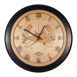 Design & Board, Inc. - Fisherman's Wall Clock - This fun fish clock makes a great conversation piece and would make a perfect gift for fishing enthusiasts.  A unique piece for the den, man cave, office, kitchen or cabin.  The Fisherman's Clock offered only by Design & Board is created, crafted and assembled in the U.S..  All our clocks are individually engraved, precision cut and carefully hand assembled. Each piece is made with multiple layers of natural Birch wood and finished with a durable clear lacquer finish to ensure quality.
