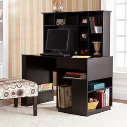 Southern Enterprises - Torres Desk and Hutch in Black - Features 1 drawer, 12 shelf compartments, 2 built-in magazine racks, and an open computer area. Drawer: 17.25 in. W x 15 in. D x 2 in. H; built-in racks: 22.25 in. W x 1.25 in. D x 7.25 in. H (to top of rack). Front shelves: 18.5 in. W x 23 in. D x 5.75 in. H (top); 9.25 in. W x 23 in. D x 15.25 in. H (bottom). Side shelves: 22.5 in. W x 9 in. D x 5 in./9.5 in. H (top/bottom). Open area: 24.5 in. W x 6.75 in. D x 15.25 in. H. Small compartments above open area: 7.5 in. W x 6.5 in. D x 6.5 in. H (each of 3). Small compartments right of open area: 6.5 in. W x 6.5 in. D x 7.5 in. H (top to bottom). Shelves on right side: 8.5 in. W x 6.5 in. D x 11.25 in. H (top/bottom). Painted black finish. Max weight capacity: 60 lb. (desk), 20 lb. (hutch). Constructed of poplar and MDF. Assembly required. Overall Dimensions: 24 in. D x 46 in. W x 54.5 in. H (141 lbs)Unclutter and unwind with the home office of your dreams. This desk and hutch provide impressive storage options for all the essentials you need for work or play. The ample space and simple lines of this desk with hutch combine for a home office bound to impress. This desk with hutch features one drawer, two built-in magazine racks, 12 shelf compartments, and an open computer area. It offers a lovely painted black finish with a clean, modern design.The sleek finish and storage-focused design make this desk set a great choice for homes with transitional to modern decor. Add this desk with hutch to your home office or bedroom for a workstation that really works.