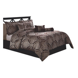 Pem America - Tutor Queen Comforter Set with Bonus Pillows - This large classic scrolling woven patterns features details that can only be seen up close.  The rich silver pattern is a contrast to the chocolate background color of the weave.  This complete bedding ensemble is a must for any elegant master bedroom. 1 Queen Comforter, 86x86 inches with 2 standard shams, 20x26 inches, 1 queen bed skirt to fit mattress 60x80 inches and 3 Decorative Pillows. 100% polyester face and fill. Dry clean only.
