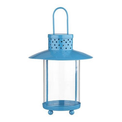 Turquoise Lantern - I love this blue lantern from Crate & Barrel. It would look so cute in the backyard for a summer dinner or inside on a fireplace mantel.