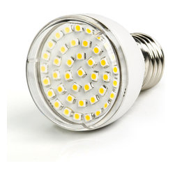 PAR16 LED Bulb, 42 LED - E27-xW42SMD-180 series flood light LED replacement bulb for traditional PAR16 medium screw base lamps. Consumes 2.5 Watts of power using 42 high power 3528 SMD LEDs. Available in Cool White or Warm White with 180° beam angle.