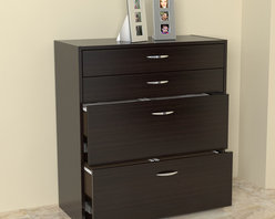 Inval America LLC - Inval Four Drawer File/ Storage Cabinet with Locking System - Keep your important papers organized in style with this contemporary four-drawer file cabinet. It features two accessory drawers that are ideal for office supplies, and two drawers with extension slides that hold letter-sized or legal-sized files.