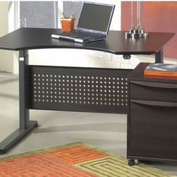 Jesper Office - Collection 17 Adjustable Computer Desk - Designed to fit in wherever you need it to be the ergonomic Sit-Stand can work as a freestanding desk at home or in an office, or within a systems environment. Moving silently up and down in seconds with the touch of a button, the smooth and powerful, yet silent, computer controlled motor moves the desk at 2 inches per second, quickly making the transition from seated to standing position heights so that you can easily work sitting or standing. Features: -Adjustable desk.-Propelled by an electric motor.-Motorized adjustable desktop.-Ergonomically designed sit-stand desk gives users the benefits of flexible work positions.-Allows the user to easily change from a sitting to a standing position.-Resulting in increased productivity and health.-Desk is an incredibly dynamic as well as ergonomic office solution.-Height variations ranges from 25-52 inches.-Adjustable speed. 1.7 inches per second.-Solid wood veneer construction.-Distressed: No.-Collection: Collection 17.-Country of Manufacture: Denmark.Specifications: -Standby power usage: 0.02 Amps.Dimensions: -Dimensions: 25''-52'' Height x 36'' Width x 47'' Depth.-Overall Product Weight: 140 lbs.Assembly: -Assembly required.Warranty: -Manufacturer provide 2 year warranty.
