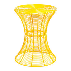 Holly & Martin - Metal Spiral Accent Table, Yellow - Don't be fooled by the delicate appearance of this whimsy little table — it's built to last, and happy to live outside on the patio or be invited inside the house. Whether you choose a bright candy color or stick with classic black, the laid-back, breezy vibe of this clever accent table is sure to make you smile.