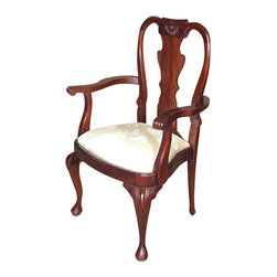 MBW Furniture - Solid Mahogany Queen Anne Floral Captain's Arm Chair - This is a beautiful solid mahogany Queen Anne floral captain's arm chair. It features a solid mahogany frame that has a beautiful splat back with elegant carved scrolls and foliage designs and it has distinguished cabriole legs with acanthus leaves and pad feet. The removable seat is very comfortable and it has beautiful shimmering golden fabric with floral designs. It is shipped assembled.
