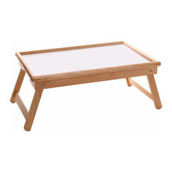 Winsome - Breakfast Flip Top Bed Tray - Bed Tray with cut off handle. Foldable Leg. Flip Top design for multiple function. White melamine top for easy cleaning.