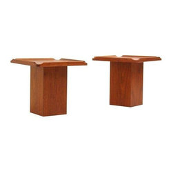 Mid-Century Walnut Side Tables by Brown & Saltman - A Mid-Century pair designed by John Keal and manufactured by Brown & Saltman, circa 1960's USA. These two are made of Walnut and feature a unique chunky trunk base and a raised lip on the table surface. Both tables are in excellent condition and have been recently refinished.