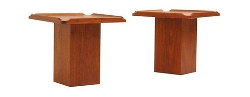John Keal - Pre-owned Mid-Century Walnut Side Tables by Brown & Saltman - A Mid-Century pair designed by John Keal and manufactured by Brown & Saltman, circa 1960's USA. These two are made of Walnut and feature a unique chunky trunk base and a raised lip on the table surface. Both tables are in excellent condition and have been recently refinished.