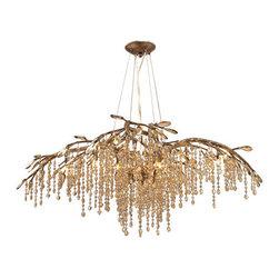 Golden Lighting - Autumn Twlight Twelve-Light Silver and Gold Chandelier - - Organic branches sculpted from steel combine with crystal to create a forest canopy  - Cascading crustals are used to romantically diffuse the light  - Faceted crystal beads and leaves are amber-tinted and glisten when lit  - Mystic Gold finish with layers of antiquing  - Bulb Included  - A chandelier creates a stylish focal point  - Dramatically sized for prominent living and dining rooms or lobbys  - 6.875 Inch canopy included  - Cable: 4 x 8? of chain and 2 x 10 Feet of wire are included. Golden Lighting - 9903-12-MG