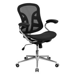 Flash Furniture - Flash Furniture Mid-Back Black Mesh Computer Chair with Chrome Base - BT-2779-GG - This mesh computer chair features a flexible mesh back and seat with an attractive back design. The mesh material molds to your body, creating a customized ergonomic seat. The mesh material also allows for air flow to keep you comfortable throughout the day. The chair back provides firm, yet comfortable lumbar support to allow a comfortable sitting experience. [BT-2779-GG]