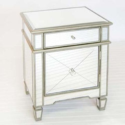 Worlds Away Crosshatch Mirrored Nightstand