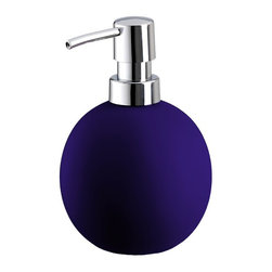 Colorful Round Non Skid Countertop Soap Dispenser - 15oz, Blue - Colorful round non skid countertop soap dispenser is perfect for any bathroom or even next to the kitchen sink. Beautiful porcelain soap dispenser with a grippy non slip coating holds 15oz of lotion or soap with a shiny chrome pump. Made in Germany.