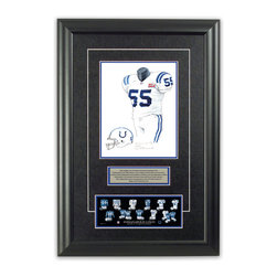 """Heritage Sports Art - Original art of the NFL 2006 Indianapolis Colts uniform - This beautifully framed piece features an original piece of watercolor artwork glass-framed in an attractive two inch wide black resin frame with a double mat. The outer dimensions of the framed piece are approximately 17"""" wide x 24.5"""" high, although the exact size will vary according to the size of the original piece of art. At the core of the framed piece is the actual piece of original artwork as painted by the artist on textured 100% rag, water-marked watercolor paper. In many cases the original artwork has handwritten notes in pencil from the artist. Simply put, this is beautiful, one-of-a-kind artwork. The outer mat is a rich textured black acid-free mat with a decorative inset white v-groove, while the inner mat is a complimentary colored acid-free mat reflecting one of the team's primary colors. The image of this framed piece shows the mat color that we use (Medium Blue). Beneath the artwork is a silver plate with black text describing the original artwork. The text for this piece will read: This original, one-of-a-kind watercolor painting of the 2006 Indianapolis Colts uniform is the original artwork that was used in the creation of this Indianapolis Colts uniform evolution print and tens of thousands of other Indianapolis Colts products that have been sold across North America. This original piece of art was painted by artist Nola McConnan for Maple Leaf Productions Ltd.  2006 was a Super Bowl winning season for the Indianapolis Colts. Beneath the silver plate is a 3"""" x 9"""" reproduction of a well known, best-selling print that celebrates the history of the team. The print beautifully illustrates the chronological evolution of the team's uniform and shows you how the original art was used in the creation of this print. If you look closely, you will see that the print features the actual artwork being offered for sale. The piece is framed with an extremely high quality framing gla"""