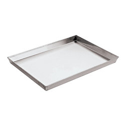"Paderno World Cuisine - 25 1/2 x 17 3/4"" x 1 1/8"" Splayed Sided Aluminized Steel Baking Sheet - This 25 1/2 long by 17 3/4 wide by 1 1/8 high splayed sided (3 cm) aluminized steel baking sheet is suited for baking and browning large, dense dough products. The sheet allows for full exposure to the heat of the oven.; Aluminized/Steel; Splayed sides; Great for baking cookies and pastries; A staple in any kitchen; Professional quality; Weight: 2.9 lbs; Made in Italy; Dimensions: 0.25""H x 20.88""L x 12.75""W"