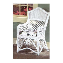 Spice Island Wicker - Gazebo Chair with Arm Rests (Garden Scroll - All Weather) - Fabric: Garden Scroll (All Weather)Enjoy the great blend of comfort and unique styling.  Wicker dining chair with armrests is cushioned with fabric choices to suit any decor.  Detailing will add charm with diamond grate plus woven upper crest, braided seat edge, and stylized rattan curls at base.  Whether you prefer the purity of white, or the tasteful elegance of brown wash, this exquisitely crafted wicker armchair is sure to make both sides of the argument stare in wonder, no matter what the color.  And with the beautifully tasteful and yet supremely comfortable and relaxing cushions, what's not to like? * Solid Wicker Construction. White Finish. For indoor, or covered patio use only. Includes cushion. 20.75 in. W x 21.75 in. D x 38.75 in. H