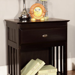 None - Solid Pine Espresso One Drawer Night Stand - This solid one drawer night stand features a unique framed detail on its sides and has a beveled top. With a gorgeous espresso finish,this night stand will pair perfectly with any home decor.