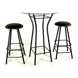 "Grace Collection - Bistro Table-""Moderno"" Wrought Iron Base - Beauty and the Bistro?  Step right up to this cool, contemporary Bistro Table with ""Moderno"" Wrought Iron Base.  Select either the 42"" bar height or 36"" counter height bistro table base and combine it with two Moderno swivel backless bar stools. * 42"" bar height or 36 inch counter height bistro table base. 16"" wide at base then narrows (as shown), and then flairs back out to 16"". Glass can be purchased separately. Shown in 42"" height w/24"" round glass top & two 30"" Seat Ht. Moderno swivel backless bar stools. (Base, Top & Stools all not included"
