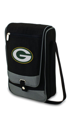 "Picnic Time - Green Bay Packers Barossa Wine Tote in Black - The Barossa is so sleek and sophisticated, you'll want to take it with you every chance you get. It's made of 600D polyester and features an adjustable shoulder strap that makes it easy to carry and a flat zippered pocket on the exterior flap. The Barossa is fully insulated to keep your wine the perfect temperature and has a divided interior compartment to separate your bottle of wine from the 2 (8 oz.) acrylic wine glasses included. Also included are: 1 stainless steel waiter style corkscrew, 1 bottle stopper (nickel-plated), and 2 napkins (100% cotton, 14 x 14"", Black with silver pinstripe). The Barossa wine tote is perfect for picnics, concerts, or travel and makes a wonderful gift for those who enjoy wine.; Decoration: Digital Print; Includes: 8 stainless steel waiter style corkscrew, 1 bottle stopper (nickel-plated), and 2 napkins (100% cotton, 14 x 14"", Black with silver pinstripe)"