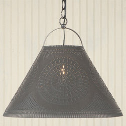 Punched Tin Shade Light in Black -
