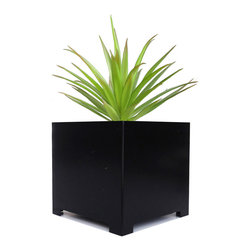 "NMN Designs - Alora Cube Planter, Black, Large - A favorite of outdoor landscapers and interior designers alike, this sturdy cube planter proves that it is indeed hip to be square. With a sleek design, hand-constructed from recycled 16 gauge sheet-metal steel, this solid indoor/outdoor planter combines modern sophistication with old school craftsmanship. Powder coated finish with a 1"" drainage hole on bottom."