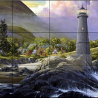 The Tile Mural Store (USA) - Tile Mural - Shelter Cover - Kitchen Backsplash Ideas - This beautiful artwork by Douglas Laird has been digitally reproduced for tiles and depicts a lighthouse aside a small hillside village.  Our lighthouse tile murals and nautical themed decorative tiles are perfect as part of your kitchen backsplash tile project or your tub and shower surround bathroom tile project. Lighthouse images on tiles add a unique element to your tiling project and are a great kitchen backsplash idea. Use a lighthouse scene tile mural for a wall tile project in any room in your home where you want to add interest to a plain field of wall tile.