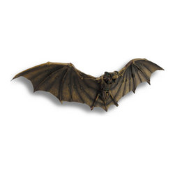 Zeckos - Bronzed Mechanical Steampunk Vampire Bat Wall Sculpture 19.5 In. - This mechanical bat is a unique addition to the home decor of Steampunk enthusiasts for Halloween, or year round. Made of cast resin, it measures 19 1/2 inches long, 6 1/4 inches high, and 3 1/2 inches deep. This piece is wonderfully detailed, from oxidized looking accents in the finish to the rivets and gears that make up the body and wings. It easily mounts to the wall with 2 nails or screws by the metal keyhole hangers on the back. It makes a great gift that is sure to be admired.