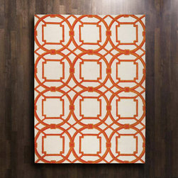 Global Views - Global Views Arabesque Coral Rug - A Moroccan-inspired geometric pattern in shades of orange pops against the ivory background of Global Views' Arabesque wool rug. Make a global statement in any room with this graphic, hand-tufted floor covering. Available in several sizes; 100% wool pile with 100% cotton backing; Hand-tufted; Hand-dyed in custom colors to work in today's interiors; Exclusive design created by in-house design team