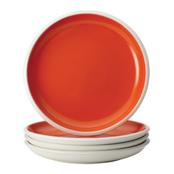 Rachael Ray - Rachael Ray Dinnerware Rise Orange 4-Piece Stoneware Salad Plate Set - With eye-catching shape, style and two-tone hues, these plates are ideal for mixing and matching with other dishes in the Rise collection to create a personalized table setting. The salad plate set is crafted from durable glazed stoneware.