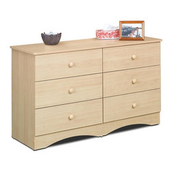 Nexera - Alegria Double Dresser in Natural Maple Finis - 6 Drawers. Offers plenty of storage space. Made of engineered wood. Assembly required. 48 in. W x 17 in. D x 28 in. H (85 lbs.)Alegria is a complete Juvenile Bedroom Collection offering a vast number of configuration possibilities. The collection's simple and elegant design combined with the Natural Maple Wood finish give the flexibility to harmonize this collection to the most exuberant decors. Alegria will appeal to the youngest as well as the more mature teenager. Storage capacity has been optimized to help keep a tidy bedroom.
