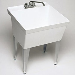 SWAN MF10000FM.001 Single Basin Floor Mount Utility Sink - The SWAN MF10000FM.001 Single Basin Floor Mount Utility Sink is a simple free-standing unit that provides convenience to your cramped laundry room. Featuring a sturdy Veritek basin, the unit is support by sturdy angular steel legs and features a maximum capacity of 22-gallons. The molded-in washboard comes pre-drilled for a 4-inch center faucet (not included). The unit has a natural white finish, meaning with no enamel to chip or scratch, the bowl will always look pristine.About Trumbull IndustriesFounded in 1922 as a single branch plumbing supply house, Trumball Industries has evolved over the years in to a privately held corporation and full-line distributor with specialized divisions. With 6 branch locations, Trumball Industries has several divisions: an Industrial Division that provides products and services to industrial manufacturers, a Home Center Division that offers expertise in all major kitchen and bath products, a Municipal Division that offers a full line of water and sewer products, and a Master Distribution Center with 500,000 square feet housing over 80,000 products. Aside from providing quality services to their customers, the people at Trumbull Industries are happy provide a tour of any of their facilities as well as assist you with any design, layout, or purchasing decisions.