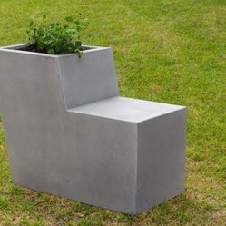 Bench With Backrest and Planter