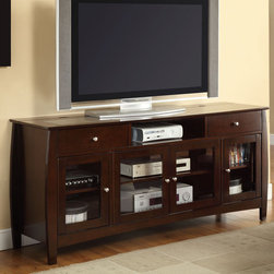 Coaster - 700693 Connect-It TV Console - The digital revolution is here. Not only is this TV console a stylish addition to any home, it also has the built-in convenience of a Connect-It power drawer and wire management. Keep all your digital devices charged and handy with this TV unit. Features plenty of storage space and dark walnut finish. Match this TV console with an occasional group (#701077-701079).