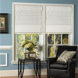 Snow White Thermal Fabric Roman Shades - My kitchen has French doors that lead out to the back deck. My husband and I pulled off the '90s mini blinds, and my plan is to replace them with simple Roman shades. These are thermal, which will help with the strong sun we get for most of the day.
