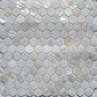 """Natural Varied Mother of Pearl 1"""" Hexagons Tile - Mother of pearl tiles add new and unique elegance to your bathroom, backsplash, headboard, and more. Our Mother of Pearl tiles are handmade from genuine natural freshwater pearls. Although Mother of Pearl tiles are naturally thin, they are very strong and durable as well as easy to install in kitchens, bathrooms, and pools."""