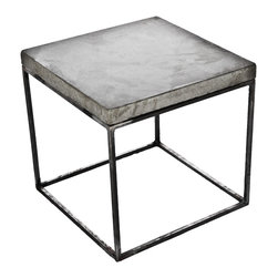 "Patrick Cain Designs - Oakland Side Table / Stool, Grey - Handmade cast concrete table top suspended on a clear coated steel 1/2"" steel tubing frame."