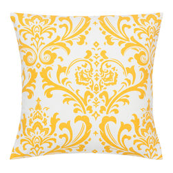Look Here Jane, LLC - Damask Yellow Pillow Cover - PILLOW COVER