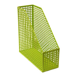 Design Ideas Green Edison Magazine File - The Edison Collection from Design Ideas makes a bold statement to desk organizers. Made from sturdy epoxy-coated steel, the circular pattern in vibrant colors will make your office happy.