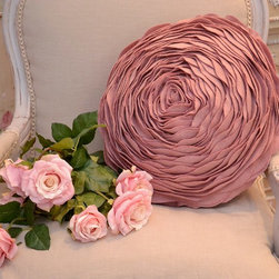 Chic Pink Felted Round Rose Pillow - Layers of pink felt create the look of petals on this unique rose pillow! The result is a soft and beautifully textured accent pillow that would look great in your home! Add a little romance to your decor!