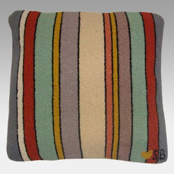 Thorndike Mills - Susan Branch Seashore Stripes Pillow - SB-0039-2 - Shop for Pillows from Hayneedle.com! Curl up for comfort with subtle stripes of color. The Susan Branch Seashore Stripes Pillow is extra-large for extra coziness and is hand-hooked from 100% wool for the highest quality with a rich density of 90 lines per square foot. It measures 18L x 18W inches and is backed with velveteen. A 15-inch zipper lets you easily remove the polyester fiber insert for easy cleaning of the cover too. Designed for indoor use in residential or commercial settings.About Thorndike MillsRooted in a proud Armenian family tradition Thorndike Mills developed in Boston during the first half of the 20th century. Their dedication to the quality traditions of Armenian rug-making remains true today. With an emphasis on exact specifications materials that meet high levels of quality and rigorous construction standards they're a top producer of braided rugs for homes and businesses across America. Thorndike Mills is the only manufacturer who still produces true cloth braided rugs made with three strands woven together and then wrapped; the next best option would be a handmade rug. The true quality of the rugs lies in the little details like hidden joints guaranteed color matching perfect symmetry of design and durable lock-stitch sewing. Thorndike Mills is still owned today by the third generation of the founding family.About Susan BranchSusan Branch is a self-taught artist from the Martha's Vineyard area who creates delicate organically inspired works that celebrate nature and simplicity. She has previously been featured in magazines including Country Living and American Patchwork and Quilting. Susan is best known for her beautiful watercolor illustration work which graces her 14 published books as well as a line of china stationery pajamas and her popular yearly calendar.