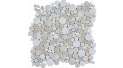 Penny Round Glass Mosaic Tile Interlocking Mounted - Buy Round Glass Mosaic Tile