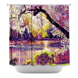 DiaNoche Designs - Shower Curtain Artistic Central Park Spring Pond - DiaNoche Designs works with artists from around the world to bring unique, artistic products to decorate all aspects of your home.  Our designer Shower Curtains will be the talk of every guest to visit your bathroom!  Our Shower Curtains have Sewn reinforced holes for curtain rings, Shower Curtain Rings Not Included.  Dye Sublimation printing adheres the ink to the material for long life and durability. Machine Wash upon arrival for maximum softness. Made in USA.  Shower Curtain Rings Not Included.
