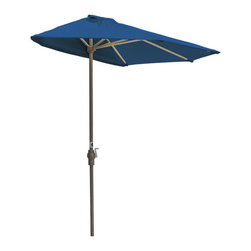 """Blue Star Group - OFF-THE-WALL BRELLA 7.5 Ft. Half Umbrella - Blue - Sunbrella Fabric - What a great new idea!  OFF-THE-WALL BRELLA is a half-canopy patio umbrella that stands, without attachment, flush against a wall, window, sliding glass door or any vertical surface.  This decorative and portable faux-awning provides cooling shade and welcomed protection from the elements.  Now, homeowner's and condominium dwellers alike can open their drapes to enjoy the view and be sheltered from the hot sun or rain.  The Blue canopy is made of Sunbrella Fabric fabric for long lasting durability and color.  The sturdy frame has a tough, powder coat, Champagne color finish and a hand crank for easy raising and lowering of the canopy.  Fully opened, the umbrella stands 94"""" H x 88"""" W x 45"""" D.  When closed, the upper pole and canopy can be separated from the lower pole for compact storage."""
