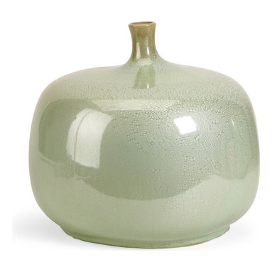 iMax - iMax Massey Short Vase X-59052 - The Massey Vase is sure to be a statement in anyone's home. The variegated greens and rotund shape demand attention! Earthy and warm, this bowl make a perfect gift or decorative accent. For a coordinated look purchase matching bowl and vase.